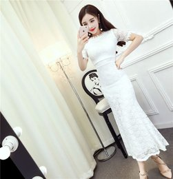 Wholesale Lady Chiffon Dress High Waist - 2017 summer new ladies temperament solid color short-sleeved high waist exposed back lace thin fish tail pack hip dress