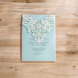 Wholesale Lace Engagement Invitations - Wholesale-(50 pieces lot) Laser Cut Elegant Wedding Invitation Card With Pearl White Lace Engagement Invitations For Party CW5190