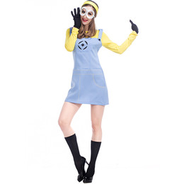 Wholesale Despicable Costumes - Despicable Me Minion Role Play The Clothing Cosplay Women Clothing Blue and Yellow Dresses Uniform Temptation