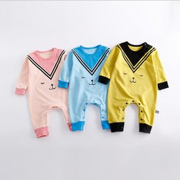 Wholesale Baby Girl New Arrivals - INS 3 colors New Arrivals autumn baby kids climbing romper baby kids 100% cotton boy girl cartoon printed long sleeve romper free shipping