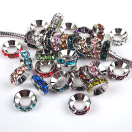 Wholesale Rondelle Large Hole - Free Shipping 100pcs lot Mixed Colors Rhinestone Rondelle Spacers European Large Hole Beads Fit Charms Bracelets 10x4mm 010001