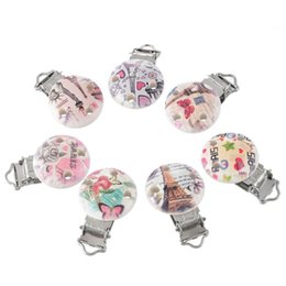 Wholesale Wooden Pacifier Clips - Wholesale-10pcs Lot Metal Wooden Baby Pacifier Holder Clips Round Cute Pacifier Soother Clasps Mixed Colors