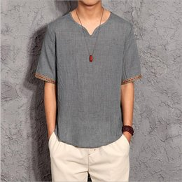 Wholesale Plus Size Chinese Dresses Clothing - New Spring Summer Chinese style Casual Men Linen Shirt Solid V Neck Collar Leisure short Shirts Men Clothing Plus size