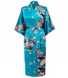Canada Gros-Haute Couture Casual Femme Robes De Nuit Pijama Mujer Imprimé Nouveau Design Femmes Rayon Bleu Clair Été Kimono Robe De Bain S0037 cheap designs for gowns new Offre
