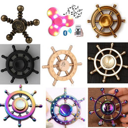 Wholesale Focus Kid - DIY Pirate Rudder Brass Hand Spinner Tri Fidget Led bluetooth Finger Focus EDC ADHD Autism spinning Top Finger spinners Gyro Anxiety Toys