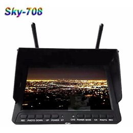 Wholesale Wireless Receiver Dvr Monitor - Skyzone SKY-708 FPV Monitor 40CH 5.8Ghz Diversity DVR HDMI Built-in Battery Wireless Receiver FPV Monitor with 7 Inch LCD