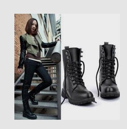 Wholesale Womens Black Combat Boots - New Womens Lady Fashion Mid-Calf Boots Leather Lace Up Martin Combat Military