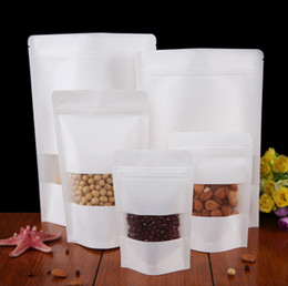 Wholesale Kraft Paper Zipper Bags - 0.28mm Zipper Stand White Kraft Paper Bags with Frosted Window  White Color Thick Kraft Paper Dried Food,Candy,Grains Pouches
