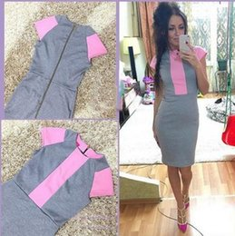Wholesale Sexy Tight Dress Women Pink - Sexy Summer casual fashion Dress Women Pink Gray Color Block Tight Fitted Dresses 2017 Ladies Sexy Bandage Zipper Back Dress Vestidos.