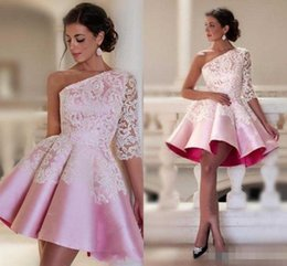 Wholesale Short Sleeves Mini Prom Dress - Baby Pink One-shoulder Homecoming Dresses Lace 2017 Half Sleeve Satin Ruched Short Party Dresses Custom Made Dubai Style Formal Prom Dress