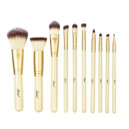Wholesale Wholesale Professional Makeup Brush Holder - Matto Gold Makeup Brushes Professional 10pcs Makeup Brush Set Foundation Powder Blush Make Up Tools Kit With Brush Holder