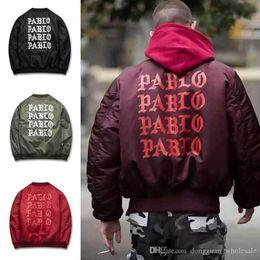 Wholesale Mens High Standing Collar Coat - Mens Winter Jackets And Coats Padded Pablo Jacket Kanye High Street Ma1 Bomber Jacket Windbreaker