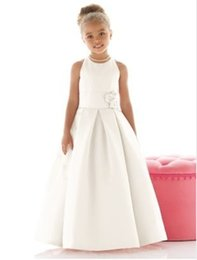Wholesale Toddler Ivory Vest - Draped Satin Vestidos Infantis First Communion Girls toddler pageant dresses Princess 2017 Long Vestido De Flower Girl Dresses