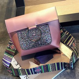 Wholesale Boston Ring - sequins Bag Ring ribbon single shoulder strap bag shell leather handbag fashion bling crossbody bags designer clutch briefcase