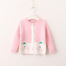 Wholesale Cat Cardigans - Everweekend Kids Girls Cute Fashion Autumn Open Stitch Baby Girls Western Lovely Animal Cats Coats Children Outwears
