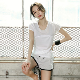Wholesale Korean Women Sport Set - Korean summer sports suit three sets of women's gym yoga running fitness clothes speed drying grid yoga clothes