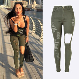 Wholesale Womens Army Green Pants - Plus size Womens High Waisted Navy Green Slim Stretch Denim Jeans Destroy Skinny Leg Ripped Hole Distressed Pants Jeans