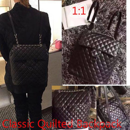 Wholesale Large Backpacks Women - top Quality Classic large backpack black quilted lambskin leather w silver tone hardware Double Shoulder backpacks Women Backpack 2530