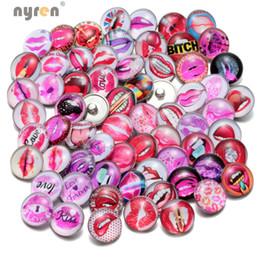 Wholesale Bracelet Dreamcatcher - Wholesale 50pcs lot Mixed Sexy Lip Dreamcatcher Design Glass 18mm Snap Button Fit Diy Jewelry Snaps Bracelet For Women KZHM029