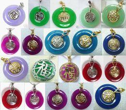 Wholesale Jade Purple Circle Pendant - Wholesale cheap charm green purple red blue red circle jade bless happiness 18KGP pendant