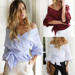 Wholesale Crossover Ties - Sexy Women Loose Ruffles Blouse Tops Crossover V-Neck Off Shoulder with Bow Tie Solid Lantern Sleeve For Casual Clubwear Party