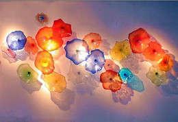 Wholesale deco hanging lamp - Modern Indoor Decorative Murano Glass Flower Plates Wall Art Lamp Colorful Dale Chihuly Style Hand Blown Glass Hanging Plates Wall Art