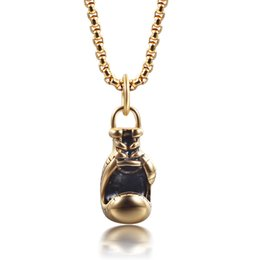 Wholesale Mini Boxing Gloves Wholesale - Wholesale-fine jewelry Lovely Mini Boxing Glove pendulum Boxing match 316L Stainless Steel Cool Pendant Necklaces for Men Boys Gift xl009