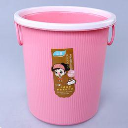 Wholesale Basket Handles Plastic - 28cm Plastic Trash Basket Ring Handle No Cover Home Supplies With Variety of Colors Plastic Basket Storage Waste Paper Barrel
