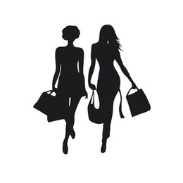 Wholesale girl car body stickers - 1pc Automobile Motorcycle Exterior Accessory Car Sticker 14cm*13cm Shopping Beauty Sticker Casual Girl Car Paster Auto Decal