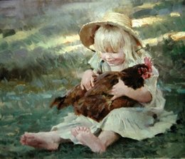 Wholesale Young Girl Oil Paint - nice young girls holding her pet animal hen,Pure Handpainted Figure Art oil Painting On Canvas Museum Quality,custom size,eleg