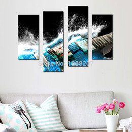 Wholesale Wall Art Guitars - 4 Panles Canvas Painting Guitar Paintings Wall Art Musical Instruments Print with Wooden Framed Music Pictures For Home Decor