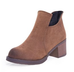 Wholesale Autumn Boots Thick Heel Vintage - 2017 Autumn Winter Women Boots Thick Heel Leather Female Side Zipper Shoes Vintage Fashion Ankle Boots Women Shoes S013