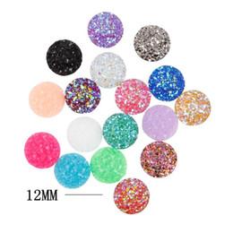 Wholesale shiny black stone - Multicolor 12mm druzy loose resin stones foiling back beads non hotfix rhinestone shiny beads