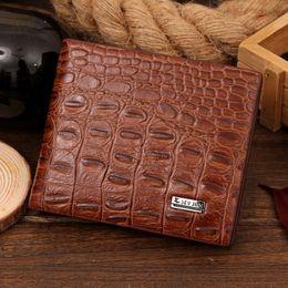 Wholesale Vintage Halloween For Sale - HOT SALE Fashion men wallets designer leather brand quality black brown and crocodile pattern purse wallet gift for men