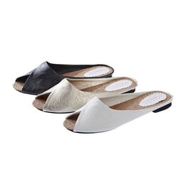 Wholesale Mules Heels Platform - Summer Women's Slippers Sweet Platform Low Heel Shoes Black White Pointed Mules Shoes Women Street Step-ins Leather Casual Shoes SL238