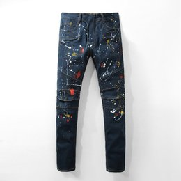 Wholesale Colored Man Jeans - New Arrival High Quality Men's fashion dark blue painted biker jeans for moto Casual slim fit stretch denim pants Long trousers