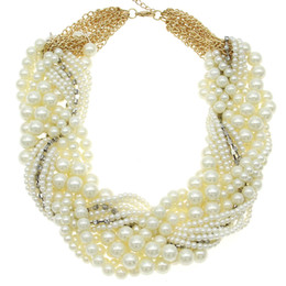 Wholesale Imitation Pearl Beads Strings - Wholesale- Dafosi Ladies Imitation Pearl Necklace Fashion White Beads Rhinestones String Women Collar Chokers Necklaces Statement Jewelry
