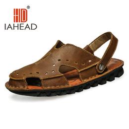 Wholesale Casual Rubber Slipper For Men - Wholesale-Men's Flip Flops Genuine Leather Slippers Summer Fashion Beach Sandals Shoes For Men Plus Size Pantufa Hot Sell TM-A10