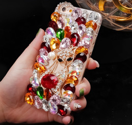 Wholesale Diamond Phone 4s - Luxury Bling Crystal Colorful Rhinestone Back Case for iPhone 4S 5S 6S plus 7 7plus Diamond DIY Case Cover 3D fox phone Cases