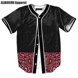 Wholesale Over Shirt Women S - ALMOSUN Floral Retro Pattern Jersey All Over Print Baseball T-Shirt Street Hip Hop Summer Tops Men Women Clothing