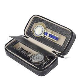 Zippée De Luxe De Stockage De Cas Organisateur En Cuirette 2 Slots Montre De Boîte Case Wallet Design De Stockage Montres Travel Box Sport Facile ? partir de fabricateur