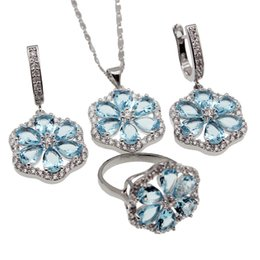 Wholesale Silver Blue Flower Ring - Jewelry Sets 925 Sterling Silver Beautiful Flower London Blue Topaz Necklace Earrings Ring Size 9 Best Quality Free Shipping