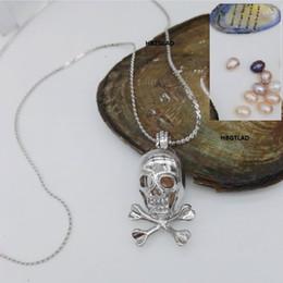Wholesale Diy Slide Charms Hearts - 2017 DIY Skull & Crossbones style Pearl Gems Beads Locket Cage  Death Skeleton shape Pendant Mountings Wish Charm Gift