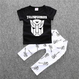 Set di abbigliamento per bambini online-Hooyi Baby Clothes Set Summer Boys T-Shirt Pants 2Pcs Suit Suit Cotton Character Toddler Tute sportive Outfit Tops per bambini 0-3Y Tute