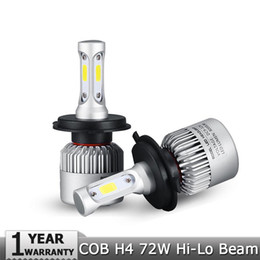 Wholesale White Led H7 Bulbs - H4 H7 H11 H1 H13 H3 9004 9005 9006 9007 9012 COB LED Car Headlight Bulb Hi-Lo Beam 72W 8000LM 6500K Auto Headlamp 12v 24v
