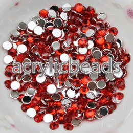 Wholesale Heart Acrylic Nails - 1000pcs Cheap 4mm Round Faceted Crystal Rhinestone Flat Back Acrylic Diamonds for Nail Art and Design CRYSTAL