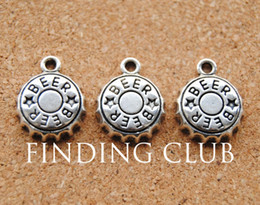 Wholesale beer bottle charms - Wholesale-Free Shipping! 30 pcs Antique Silver Alloy Beer Bottle Cap Charms Fit Handcraft Making 19x18mm A887