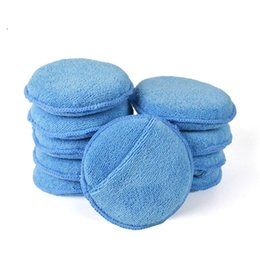 "Wholesale Car Waxes - 10Pcs Lot 5"" Diameter Soft Microfiber Wax Car Polishing Pads Foam Sponges Car Polishing Care Wax Applicator Pads"