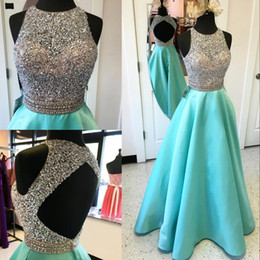 Wholesale Turquoise Open Back Prom Dress - Luxury Beaded Sequins Turquoise Prom Dresses 2017 Halter Sleeveless A Line Satin Sexy Open Back Pageant Gala Dress Long Gowns