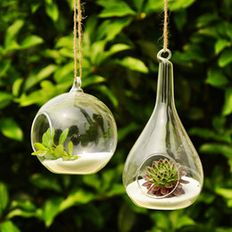 Wholesale wholesale glass vases for weddings - Handmade Hanging Glass Teardrop Glass Terrarium Kit Vase For Home Wedding Decor, 16 piece per lot